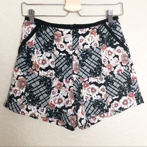 EUC MINKPINK high waisted black floral short